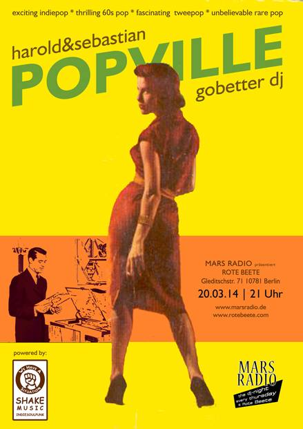 20.03.2014 | exciting indiepop * thrilling 60s pop * fascinating  tweepop * unbelievable rare pop @ Rote Beete | Flyer design by designjockey