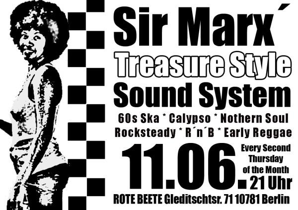 11.06.2009 Sir Marx.. Treasure Sound System @ MARS RADIO * 60s ska + rochsteady + calypso + nothern soul + r..n..b + early reggae * Rote Beete designed by Designjockey