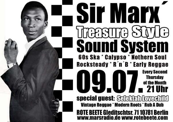 09.07.2009 Sir Marx.. Treasure Sound System @ MARS RADIO * 60s ska + rochsteady + calypso + nothern soul + r..n..b + early reggae * Rote Beete designed by Designjockey