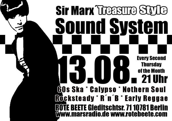 13.08.2009 Sir Marx.. Treasure Sound System @ MARS RADIO * 60s ska + rochsteady + calypso + nothern soul + r..n..b + early reggae * Rote Beete designed by Designjockey