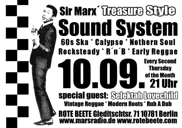 10.09.2009 Sir Marx.. Treasure Sound System @ MARS RADIO * 60s ska + rochsteady + calypso + nothern soul + r..n..b + early reggae * Rote Beete designed by Designjockey