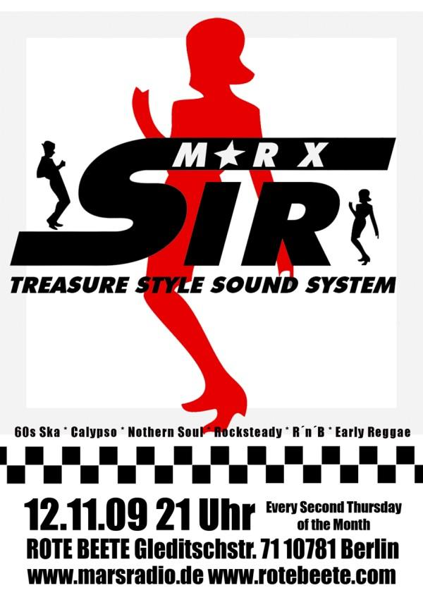 12.11.2009 Sir Marx.. Treasure Sound System @ MARS RADIO * 60s ska + rochsteady + calypso + nothern soul + r..n..b + early reggae * Rote Beete designed by Designjockey