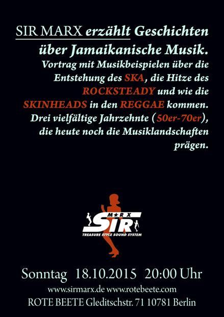 Sir Marx erz�hlt Geschichten �ber Jamaikanische Musik. @ Rote Beete, Gleditschstr. 71, Berlin-Schöberg designed by Designjockey