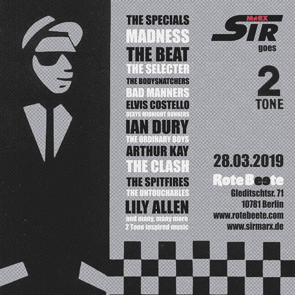 28.03.2019 | Sir Marx @ Rote Beete |TWO TONE| Flyer design by designjockey